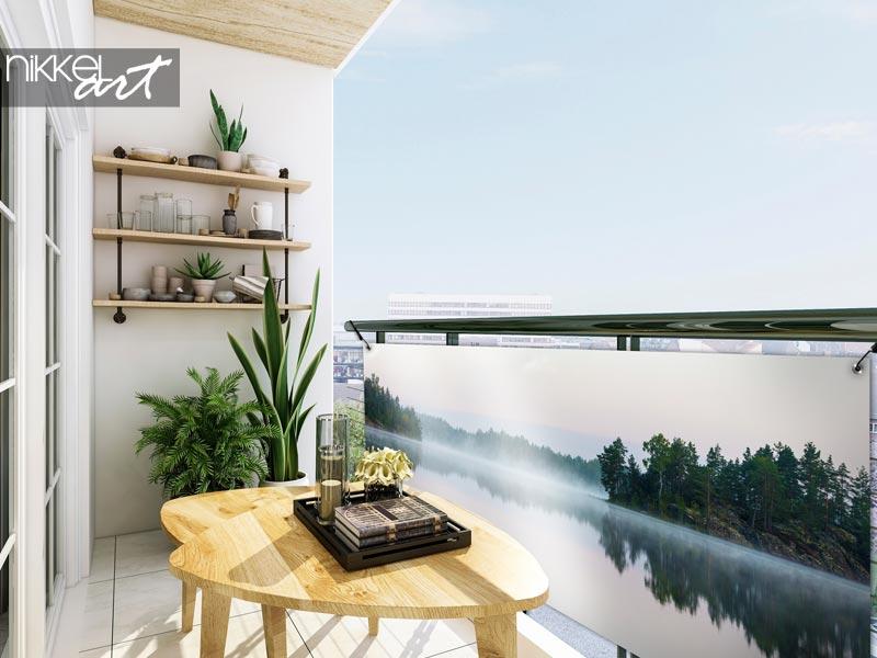 Poster de jardin Panorama du lac du matin
