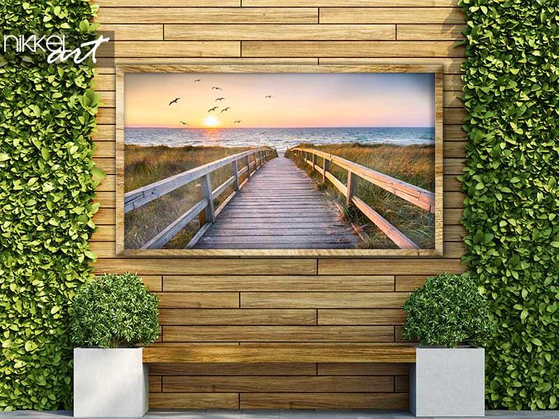 Poster de jardin Belle plage de dunes au coucher du soleil, Mer du Nord, Allemagne
