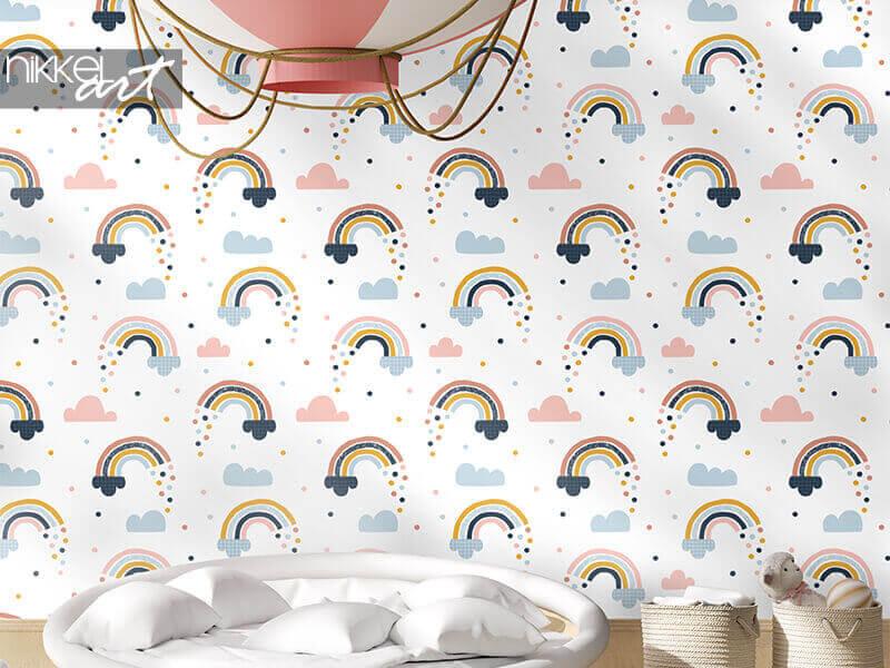 Papier peint motif abstrait sans soudure avec des arcs-en-ciel dessinés à la main, des gouttes de pluie et des nuages