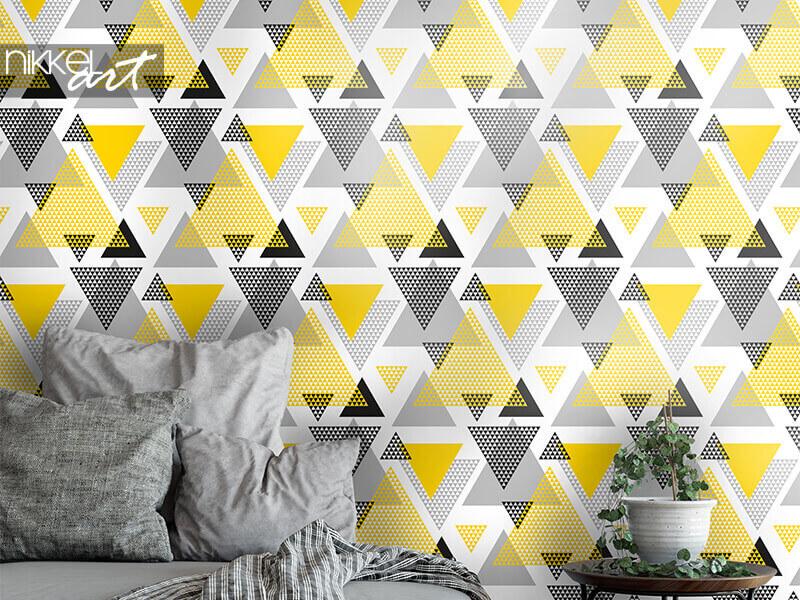 Papier peint triangles jaunes et noirs
