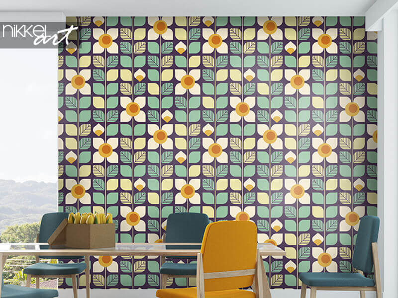 Papier peint motif rétro géométrique sans soudure