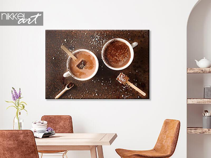 Photo sur toile Deux tasses de chocolat chaud au cacao en poudre