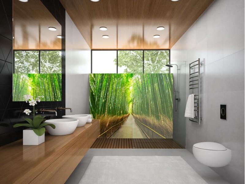 Sautez dans les profondeurs avec une crédence de salle de bain en verre imprimé
