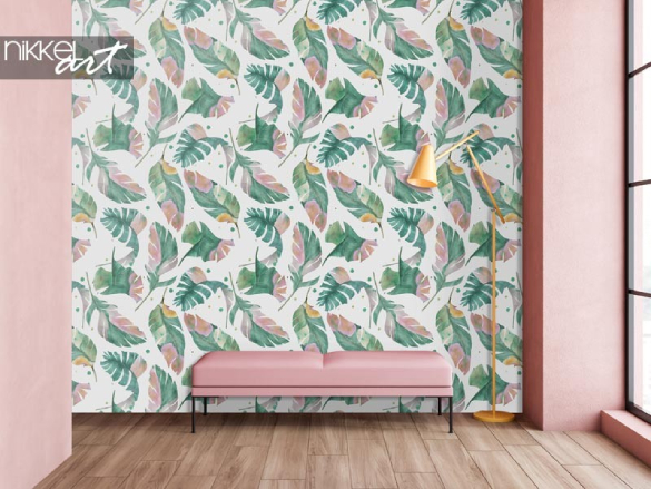 Best-seller: papier peint à feuilles d'aquarelle