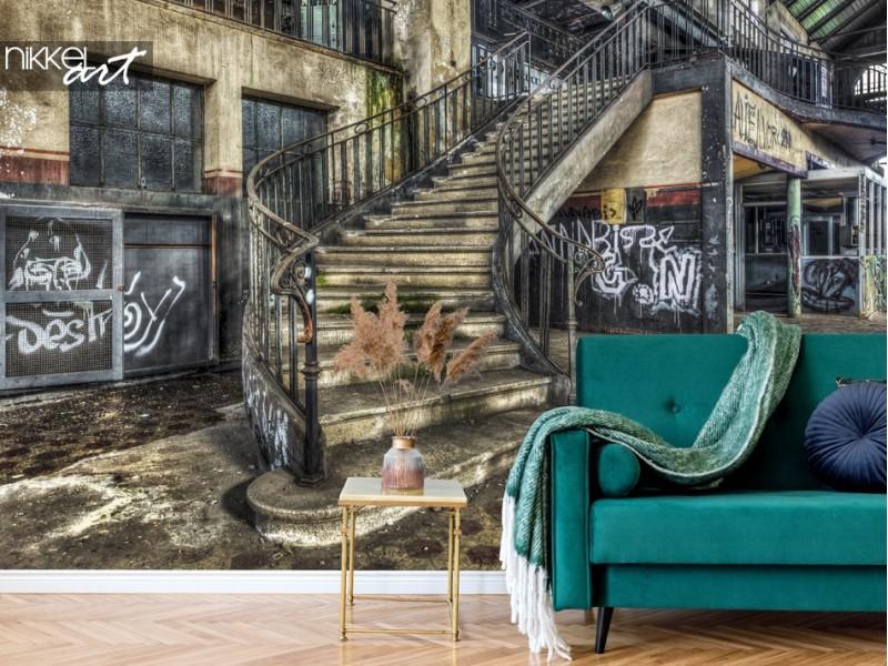 3x Papiers peints avec de vieux bâtiments abandonnés