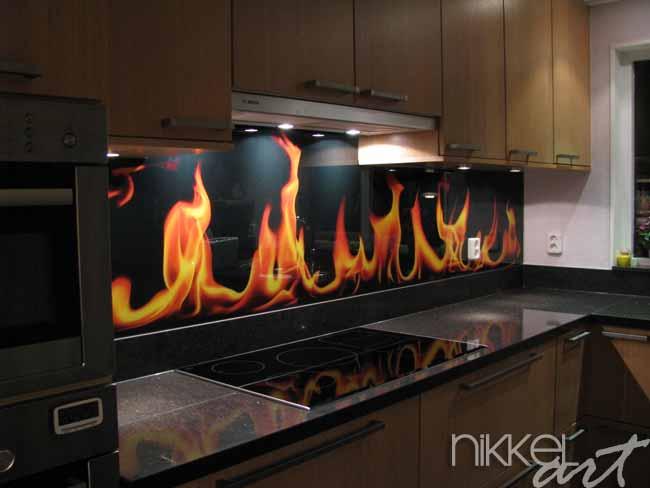 Cr dence de cuisine en verre imprim flamme for Credence cuisine verre imprime