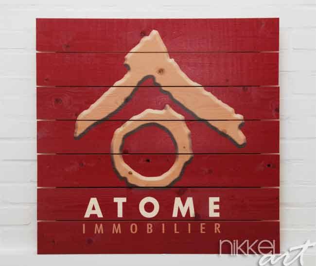 Photo sur bois avec logo de l entreprise