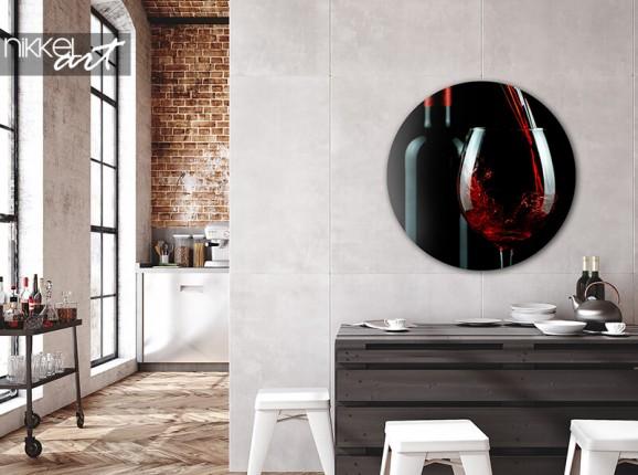 Cercle mural en aluminium vin rouge