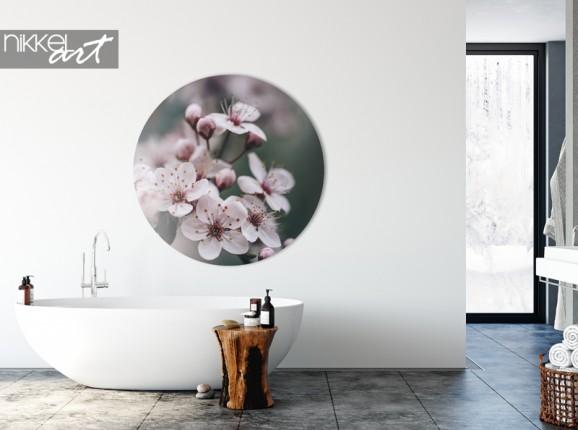 Fleur de printemps de cercle mural en aluminium