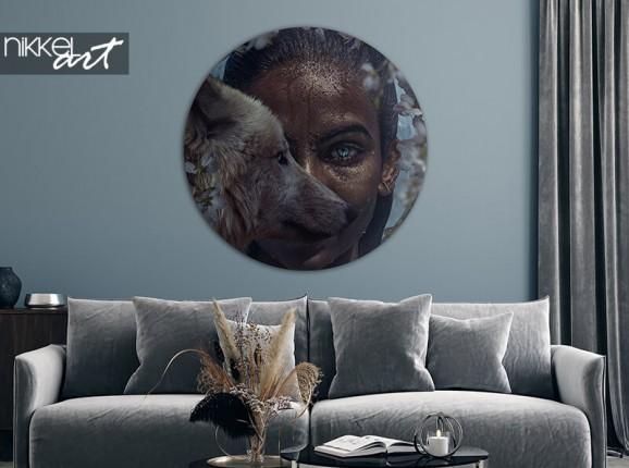 Cercle mural en aluminium Wolf Girl