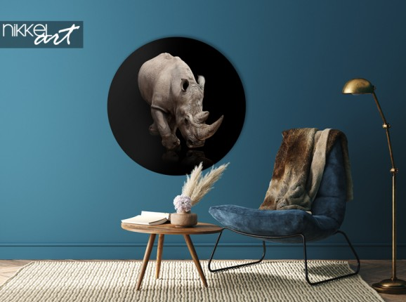 Cercle mural en aluminium avec rhinocéros