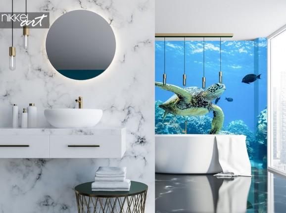 Salle de Bain avec Papier Peint Photo Tortue de Mer