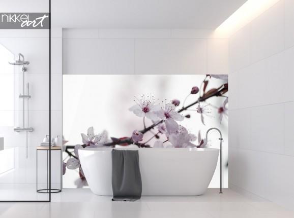 Salle de Bain avec Paroi Arrière en Verre Fleur de Cerisier