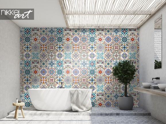 Papier peint à carreaux marocains