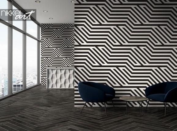 Papier peint à rayures noir et blanc