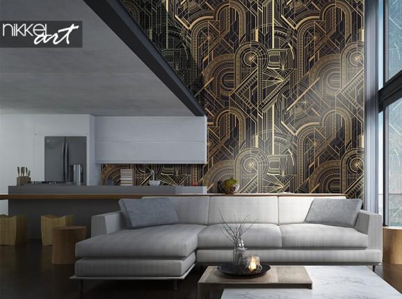 Papier peint à motif géométrique noir-or