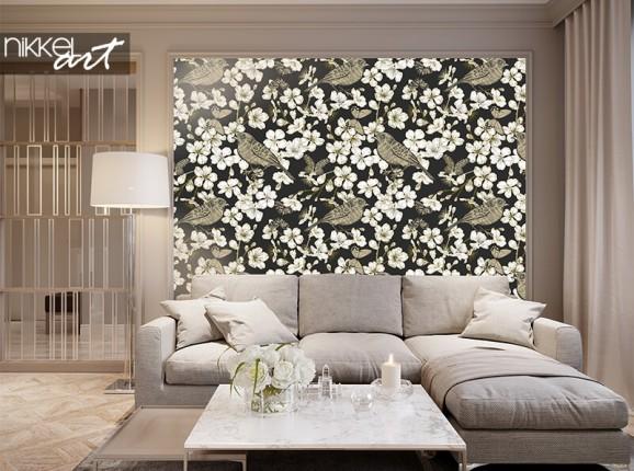 Papier peint avec des fleurs de cerisier et des oiseaux
