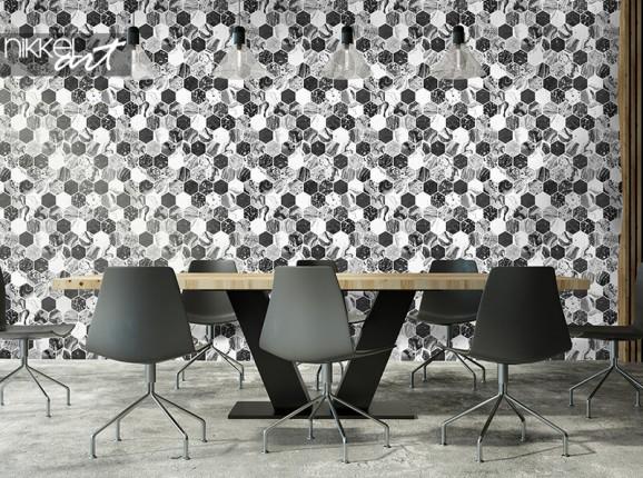 Papier peint géométrique avec hexagones