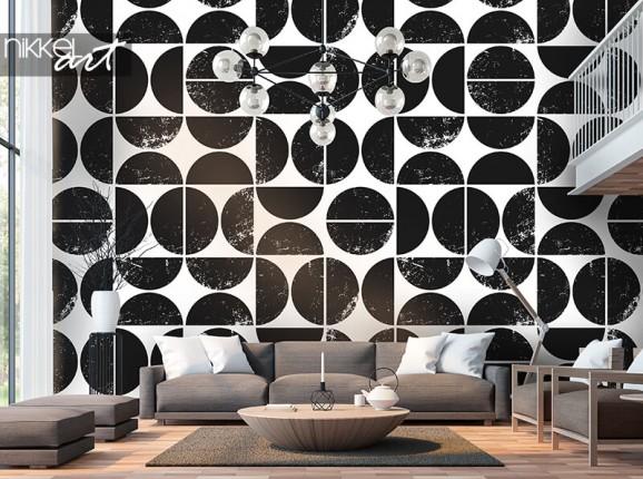 Papier peint à motif géométrique noir et blanc