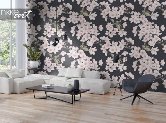Papier peint avec des fleurs de cerisier