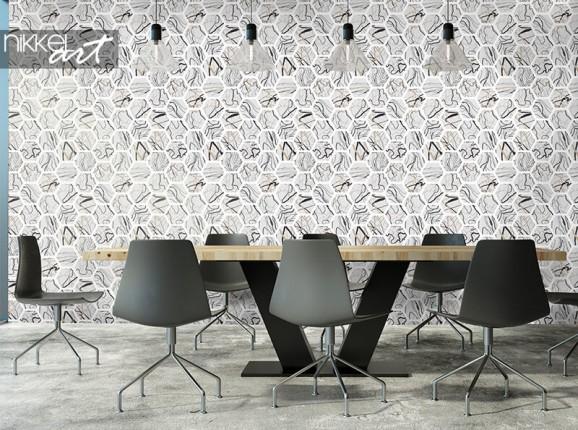Papier peint avec hexagones de marbre