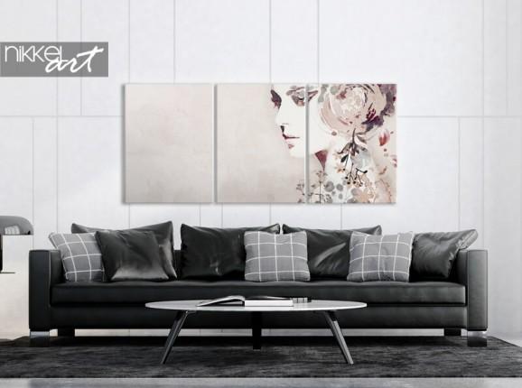 Portrait abstrait sur toile triptyque