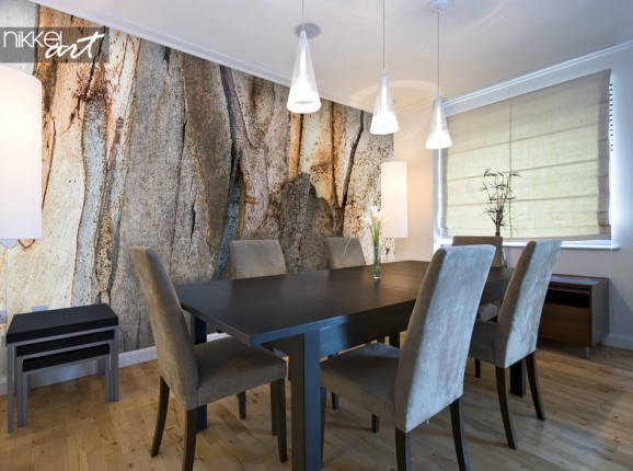 Salle à Manger avec Papier Peint Photo Écorce D arbre