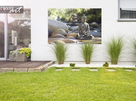 Jardin avec Photo sur Bouddha en Aluminium