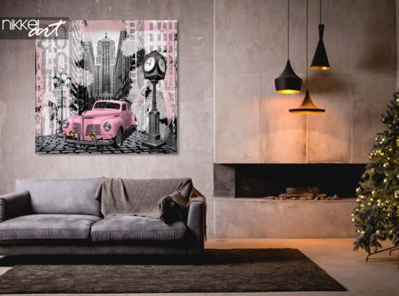 Photo sur Aluminium Voiture vintage rose