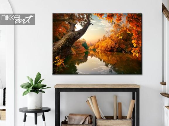 Bois en automne sur toile