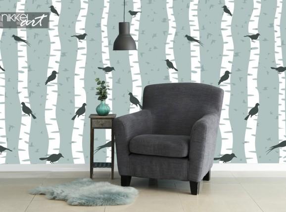 Papier Peint Photo avec Imprime Oiseau