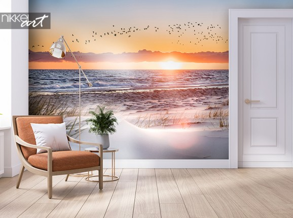 Coucher de soleil sur papier peint photo