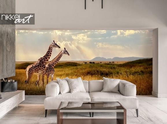 Papier peint photo avec des girafes