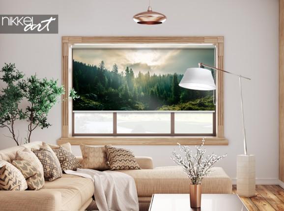 Store enrouleur photo forêt de pins