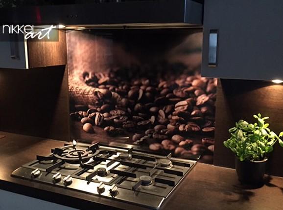 Crédence de cuisine en verre du café en grains