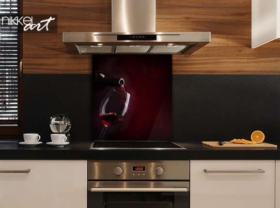 Verre crédence de cuisine vin rouge