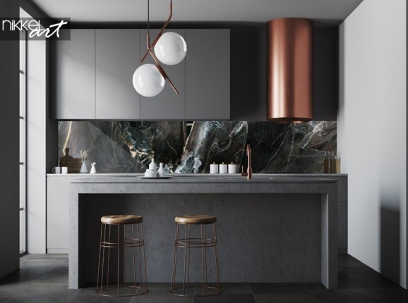 Mur Arrière de Cuisine avec Texture en Marbre Photo