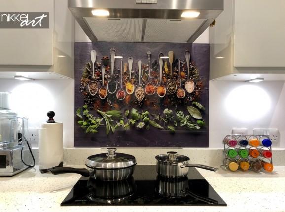 Photo du Client Crédence de Cuisine en Verre Imprimé Herbe