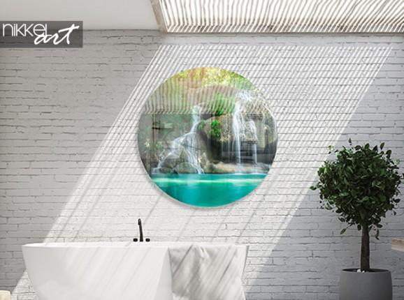 Cercle mural en plexiglas avec cascade tropicale
