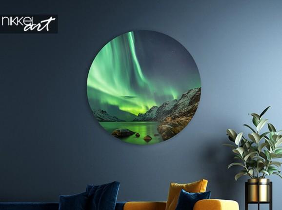 Cercle mural en aluminium aurores boréales