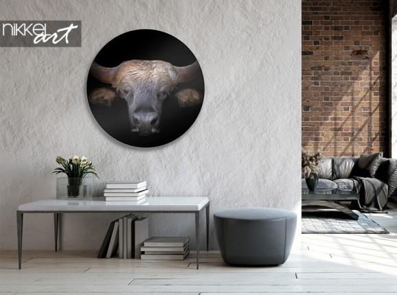 Bison de cercle mural en aluminium