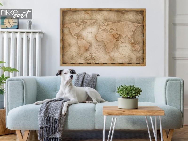 Affiche avec Photo Carte du Monde