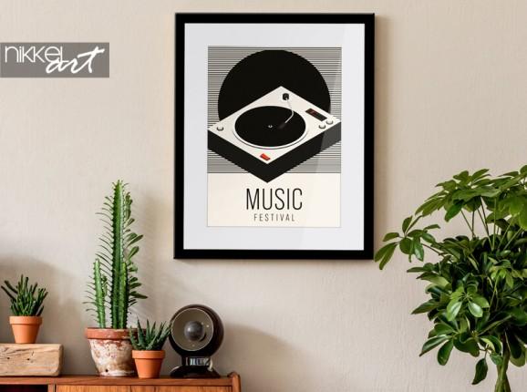 Poster encadré avec gramophone
