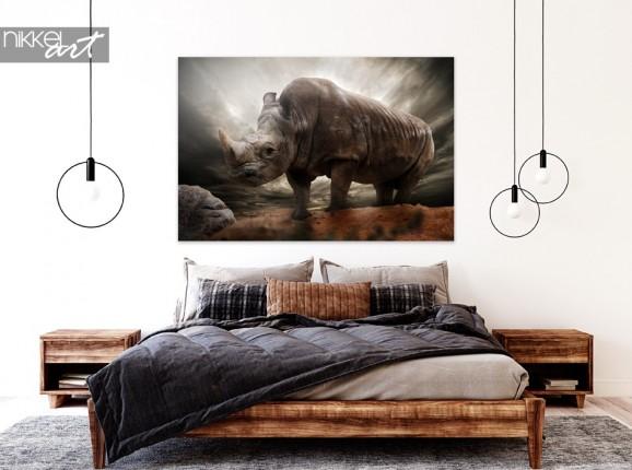Chambre avec Photo Rhino sur Aluminium