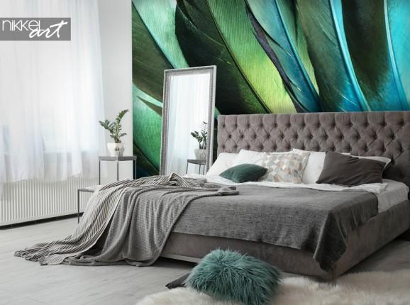 Chambre à Coucher Avec Papier Peint Photo Plumes