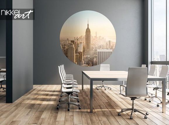 Autocollant mural rond New York