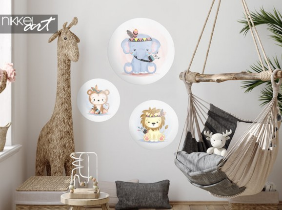 Autocollant mural rond animaux