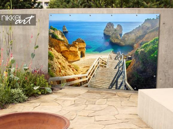 La plage d'Algarve sur poster de jardin