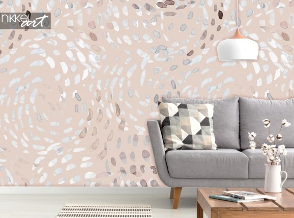 Salon avec Photo de Papier Peint Abstract Swirls