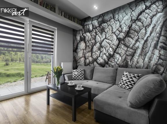 Salon avec Papier Peint Photo Texture D arbre